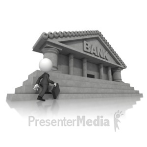 ID# 14834 - Business Figure Walking Toward Bank - Presentation Clipart