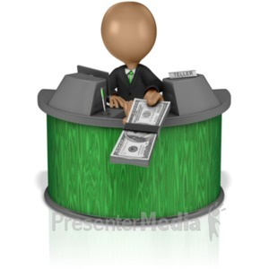 ID# 14863 - Bank Teller Handing Money - Presentation Clipart