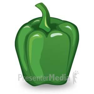 ID# 14910 - Green Pepper Illustration - Presentation Clipart