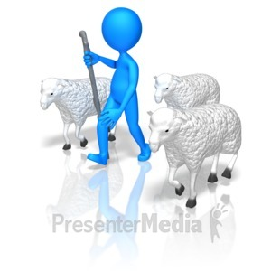 ID# 14925 - Stick Figure Herd Sheep - Presentation Clipart