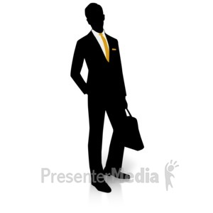 ID# 15002 - Businessman Silhouette Pocket - Presentation Clipart