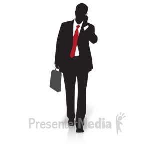 ID# 15004 - Businessman Silhouette Walking - Presentation Clipart