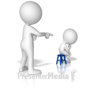 ID# 15011 - Big Figure Put Little Figure In Corner - Presentation Clipart