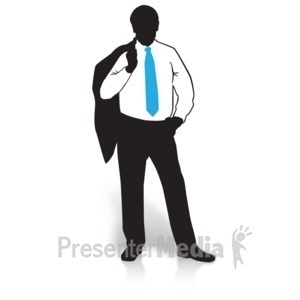 ID# 15020 - Businessman Silhouette Suit Jacket - Presentation Clipart