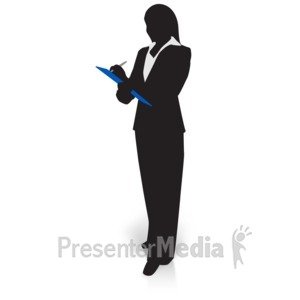 ID# 15028 - Businesswoman Silhouette Clipboard - Presentation Clipart