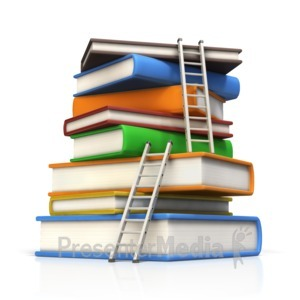 ID# 15089 - Ladders to Top of Book Stack - Presentation Clipart
