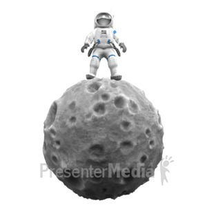 ID# 15115 - Astronaut On Asteroid - Presentation Clipart