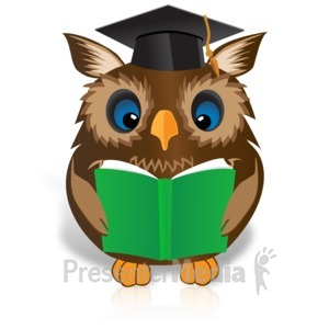 ID# 15127 - Smart Owl Reading Book - Presentation Clipart