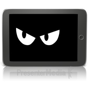 ID# 15137 - Black Tablet Spy Watching - Presentation Clipart