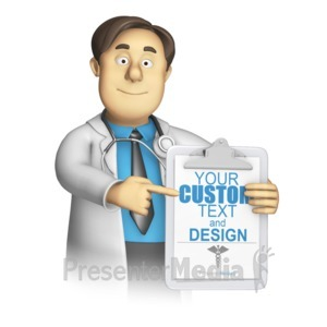 ID# 15224 - Medical Woker Present Custom Clipboard - Presentation Clipart