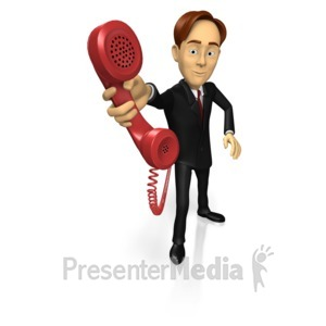 ID# 15227 - Business Guy Phone - Presentation Clipart