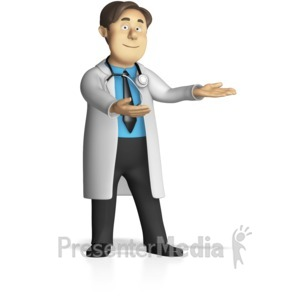 ID# 15230 - Male Doctor Presenting - Presentation Clipart