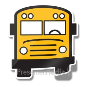 ID# 15239 - School Bus Icon Sticker - Presentation Clipart