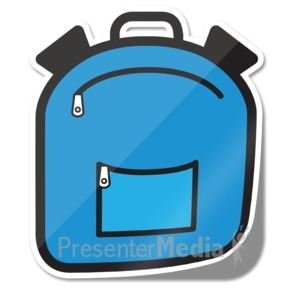 ID# 15241 - Backpack Icon Sticker - Presentation Clipart