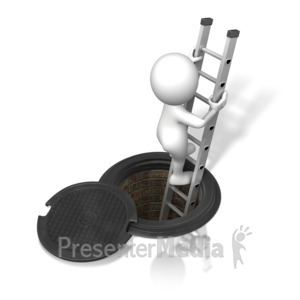 ID# 15302 - Figure Climbing In/Out of Sewer - Presentation Clipart