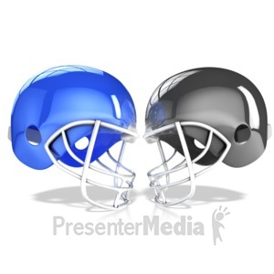 ID# 15406 - Football Helmets Collide - Presentation Clipart