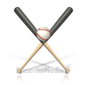 ID# 15480 - Baseball Bat Ball - Presentation Clipart