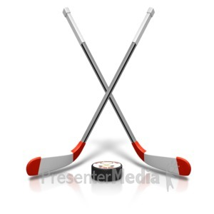ID# 15481 - Ice Hockey Sticks Puck - Presentation Clipart