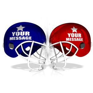 ID# 15672 - Custom Football Helmets Collide - Presentation Clipart