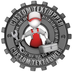 ID# 15696 - Maintenance Figure Custom Gear Ring - Presentation Clipart
