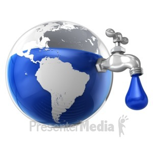 ID# 15798 - Dripping Water Faucet in the Earth - Presentation Clipart