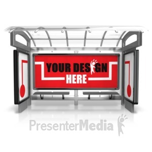 ID# 15824 - Custom Bus Stop Three Piece - Presentation Clipart