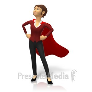 ID# 15830 - Businesswoman Superhero Pose - Presentation Clipart