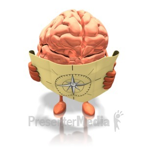ID# 15876 - Brain Looking At Map - Presentation Clipart