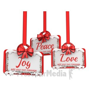 ID# 15977 - Three Hanging Holiday Ribbon Signs - Presentation Clipart
