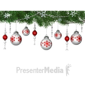 ID# 15985 - Hanging Ornaments From Pine - Presentation Clipart