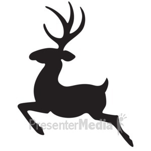 ID# 15987 - Single Reindeer Silhouette - Presentation Clipart