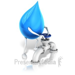 ID# 16072 - Water Drop Character Turning Valve - Presentation Clipart
