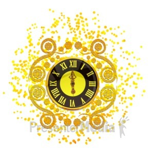 ID# 16113 - New Years Elegant Clock - Presentation Clipart