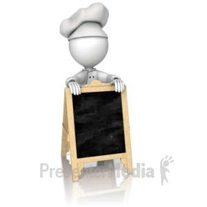 ID# 16168 - Chef Behind Sidewalk Cafe Sign - Presentation Clipart