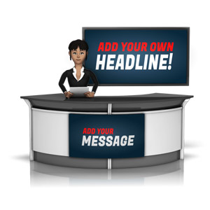 ID# 16271 - Female News Caster In front of Screen - Presentation Clipart