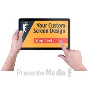 ID# 16340 - Hands Touch Tablet Custom - Presentation Clipart