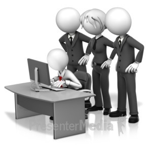 ID# 16349 - Big Bosses Hovering Over Employee - Presentation Clipart