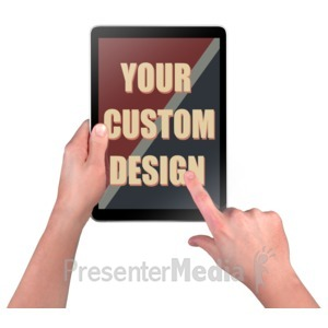 ID# 16412 - Hands Touch Device Custom - Presentation Clipart