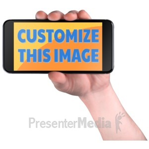 ID# 16414 - Hand Hold Smart Phone Custom - Presentation Clipart