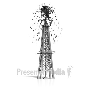 ID# 16527 - Oil Derrick Shooting Oil - Presentation Clipart