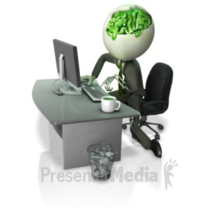 ID# 16539 - Zombie Working At Desk - Presentation Clipart