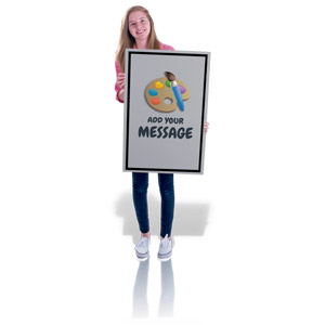 ID# 16578 - Teen Girl Hold Sign Custom - Presentation Clipart