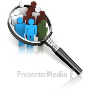 ID# 16672 - Magnified Many Color People - Presentation Clipart