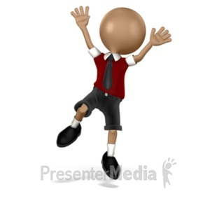 ID# 16701 - Boy Student Jumping - Presentation Clipart