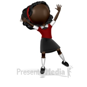 ID# 16702 - Girl Student Jumping - Presentation Clipart
