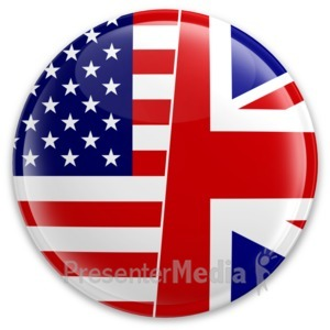 ID# 16760 - Us Uk Flag Button - Presentation Clipart