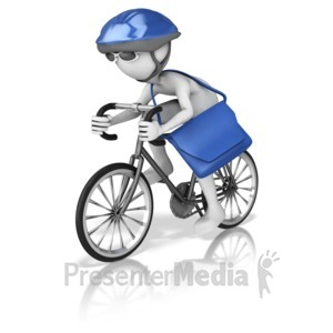 ID# 16761 - Bike Courier With Pack - Presentation Clipart
