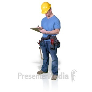 ID# 16768 - Construction Man Write Clipboard - Presentation Clipart