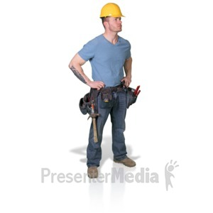 ID# 16799 - Construction Man Looking To Side - Presentation Clipart