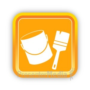 ID# 16812 - Construction Paint and Paintbrush - Presentation Clipart